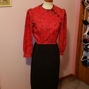Vintage 1980s Puffy Sleeve Valentine's dress small